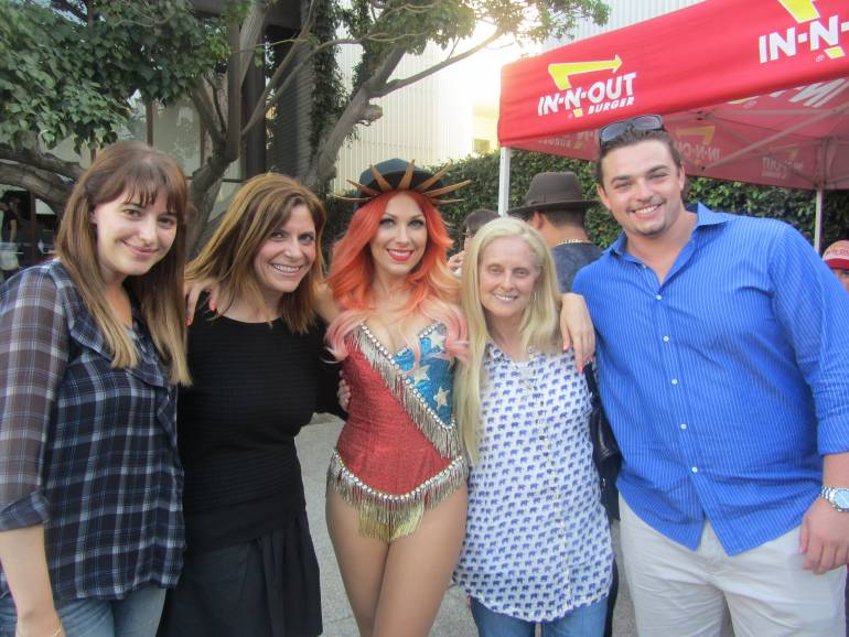 BMI Associate Director, Writer/Publisher Relations Jessa Gelt; BMI Executive Director, Writer/Publisher Relations Tracie Verlinde; BMI songwriter Bonnie McKee; BMI Vice President, Writer/Publisher Relations and General Manager Barbara Cane and Bonnie McKee fan Paxton Cane at McKee's showcase in Los Angeles on July 25, 2013.