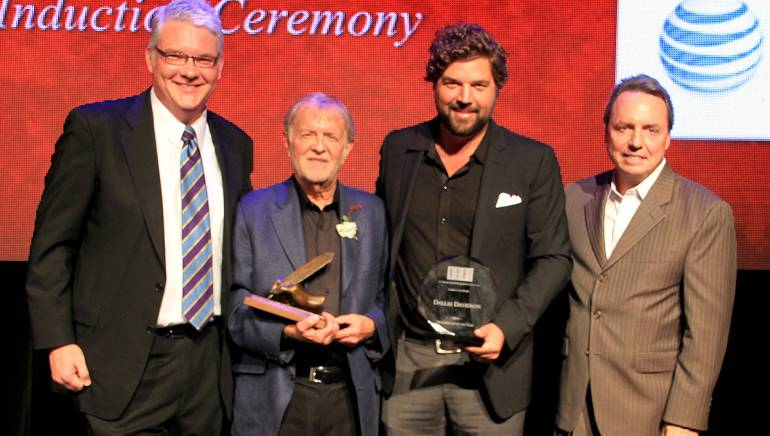 Pictured are (l-r): BMI's Perry Howard, Larry Henley, Dallas Davidson, and BMI's Jody Williams.