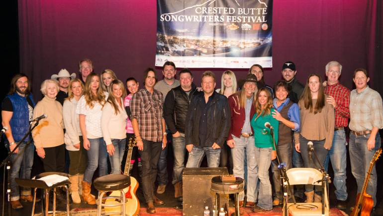 Pictured at the Crested Butte Songwriters Festival are (l-r): BMI's Mason Hunter, Jared Gregg, Paul Overstreet, BMI's Leslie Roberts, Kylie Sackley, Bri Bagwell, Vicky McGehee, Marti Frederiksen, host Storme Warren, Rodney Clawson, Wendell Mobley, Nicolle Galyon, Dean Dillon, BMI's Mary Loving, Colin Lake, Even Stevens, Chris Young, and BMI's Mark Mason and Clay Bradley.