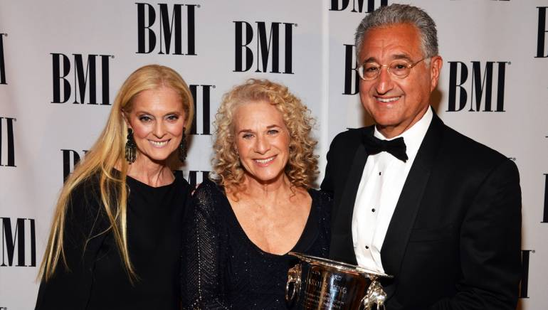 Vice President and General Manager, Writer/Publisher Relations Los Angeles Barbara Cane, BMI Pop Icon Award recipient Carole King, and BMI President and CEO Del Bryant attend the 60th annual BMI Pop Awards.