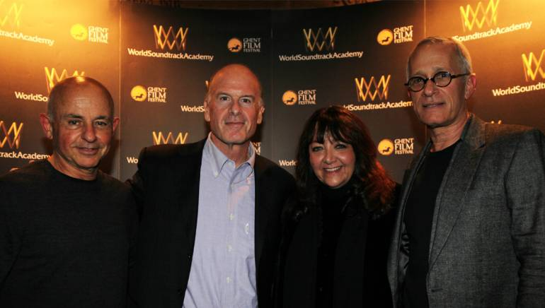 Pictured: Agent Sam Schwartz, BMI composer Robert Kraft, BMI's Doreen Ringer Ross, and BMI composer James Newton Howard