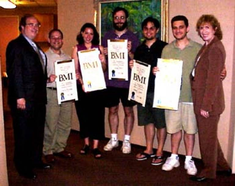 Recipients of the First Annual BMI Foundation/Jerry Harrington Musical Theatre Award for Outstanding Creative Achievement are pictured here after receiving their certificates. (L-R): BMI's Gary Roth; Larry Bortniker, Advanced Workshop Award; Kristen Anderson, First Year Workshop Award; Lenny Hort, Librettists Workshop Award; Robert Lopez, Advanced Workshop Award; Jeff Marx, Advanced Workshop Award; and BMI's Jean Banks.