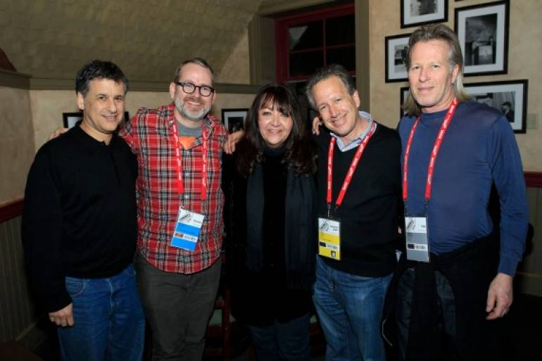 Pictured at Zoom are (l-r): Neuroscientist Daniel Levitin; director Morgan Neville; Doreen Ringer Ross, Vice President, Film/TV Relations, BMI; composer Peter Golub; and producer Stephen Nemeth.