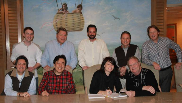 Pictured (L-R) back row: HoriPro Entertainment Group's Lee Krabel, BMI's David Preston, HoriPro Entertainment Group's Tim Stehli and BMI's Jody Williams and Clay Bradley. Front row: HoriPro Entertainment Group's Butch Baker and Kaz Hori, BMI songwriter Sonia Leigh and attorney Jim Zumwalt.