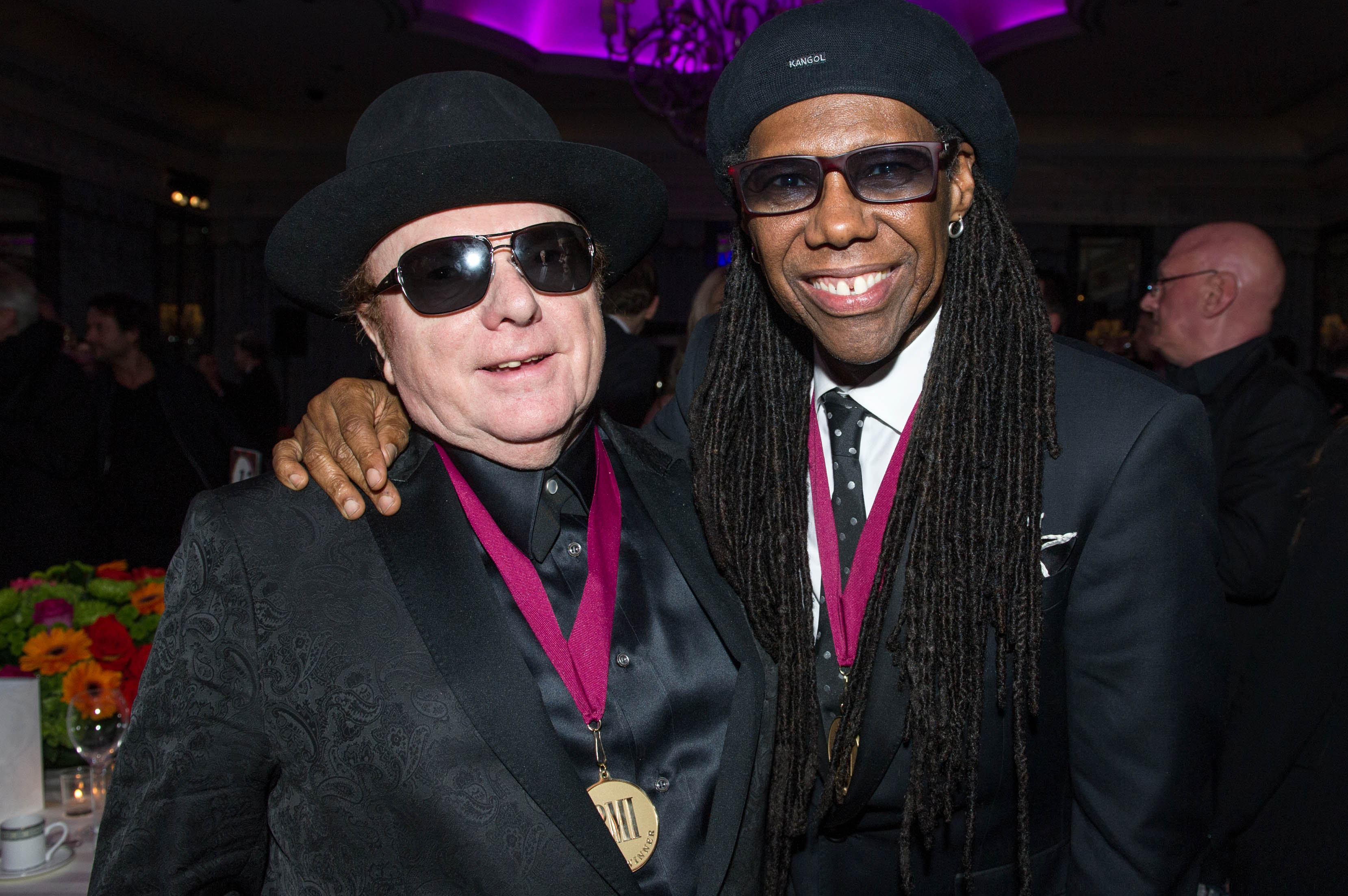BMI Icon Sir Tim Rice and BMI President   CEO Michael O Neill pause for a  photo onstage at the 2014 BMI London Awards a0d2ce4f41d